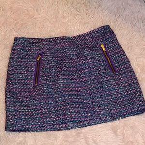 J Crew Tweed knit purple pink zippers mini skirt